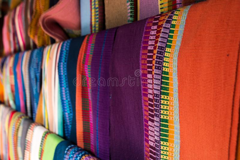 Handwoven Textiles from Natural Cotton. These examples of handwoven textiles were made in Guatemala by a group of women entrepreneurs stock photography