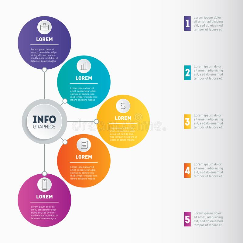 Examples of infographics, how to make your business structured. Investor presentation with 5 steps. Vector infographic 5 processes. Best for slideshow, diagram stock illustration