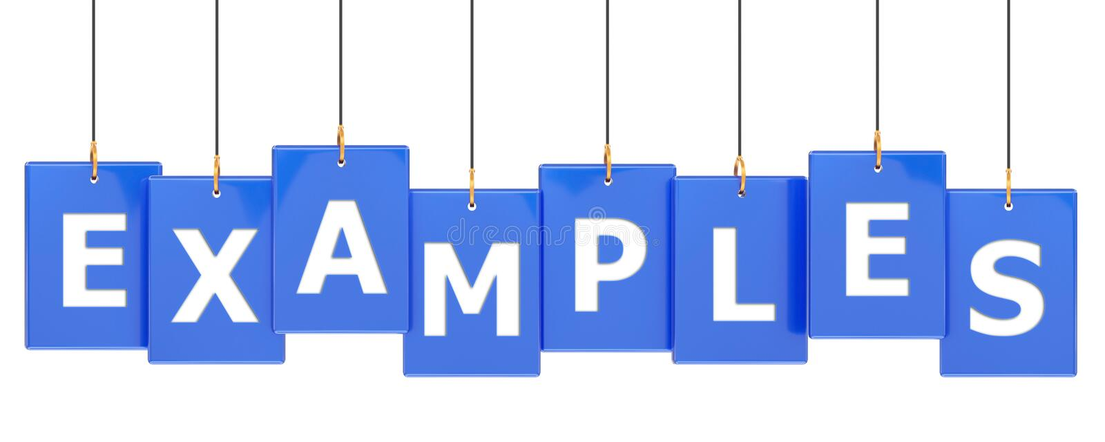 Examples tag banner. Examples 3d rendered blue tag banner , isolated on white background stock illustration