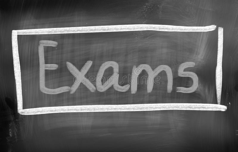 Exams Concept. Concept Handwritten With Chalk On A Blackboard stock image