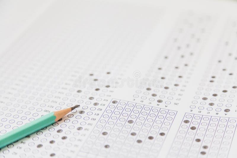 Exams quiz test paper com lápis imagens de stock royalty free