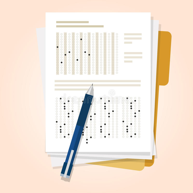 Exams quiz test paper with pencil multiple choice royalty free illustration
