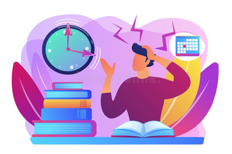 Exams and tests concept vector illustration. Terrible time crunch, cramming material before tests, examination. Exams and test results, personal exam timetable royalty free illustration