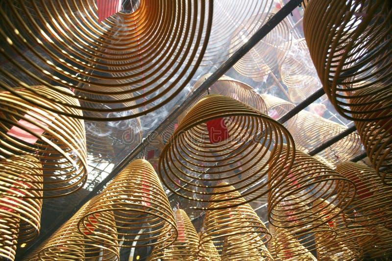 Exaspérez dans un temple de Hong Kong images libres de droits