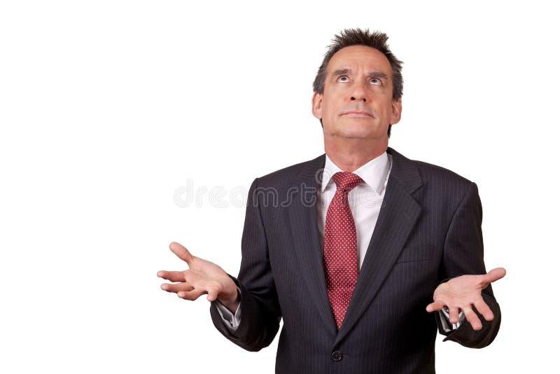Exasperated Business Man in Suit Raisining Eyes. Attractive Exasperated Middle Age Business Man in Suit Raising Eyes stock images