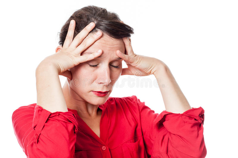 Exasperated young woman with exhaustion for headache. Depression concept - exasperated young woman touching her brain with exhaustion for headache, inspiration royalty free stock images
