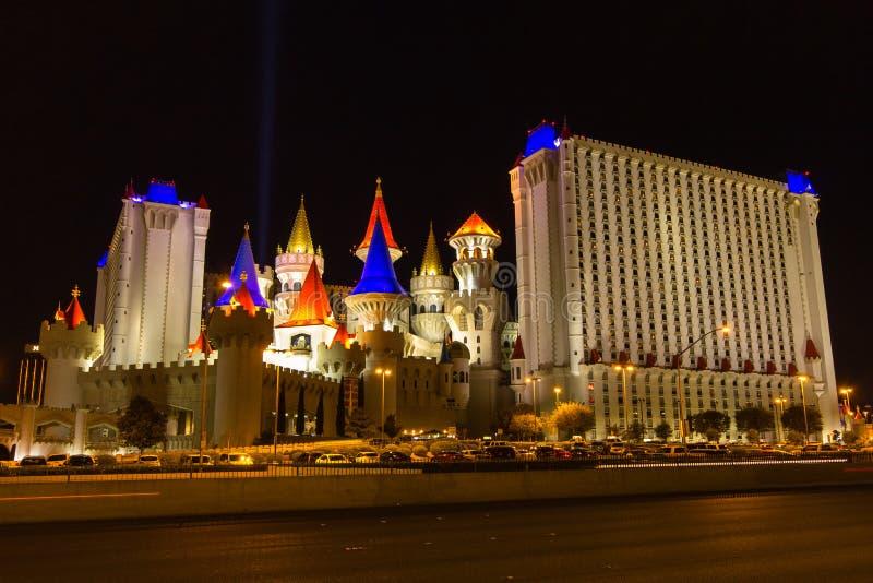 Excalibur hotel w Las Vegas przy nocą zdjęcia royalty free