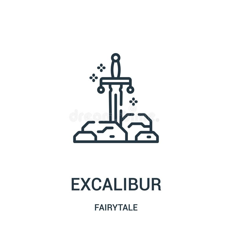 excalibur icon vector from fairytale collection. Thin line excalibur outline icon vector illustration royalty free illustration