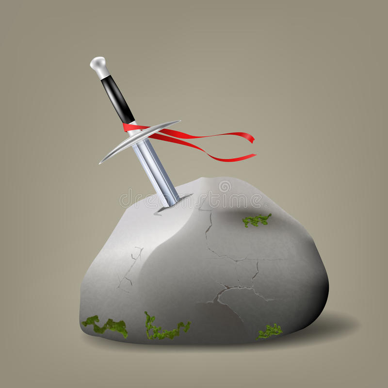 Excalibur, King Arthur's sword in the stone royalty free illustration