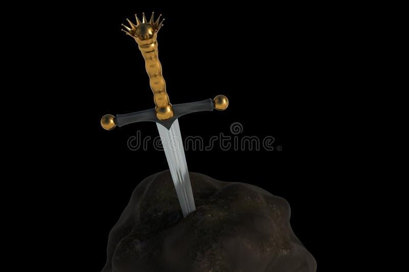 Excalibur svärd i stenen som isoleras på svart bakgrund stock illustrationer