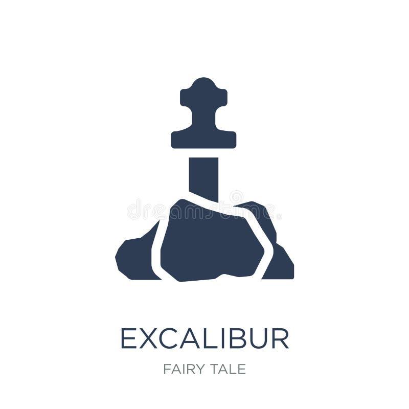 Excalibur symbol Moderiktig plan vektorExcalibur symbol på vit backg royaltyfri illustrationer