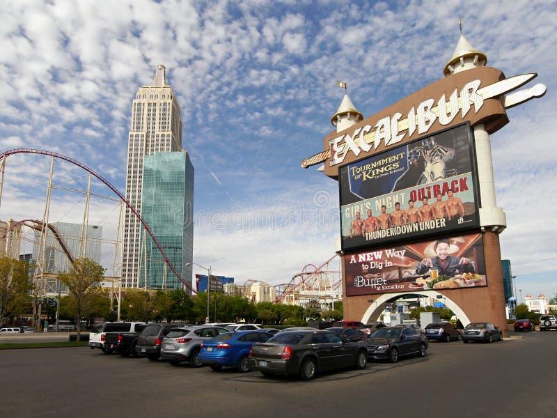 Excaliburaanplakbord, Las Vegas Nevada royalty-vrije stock foto's