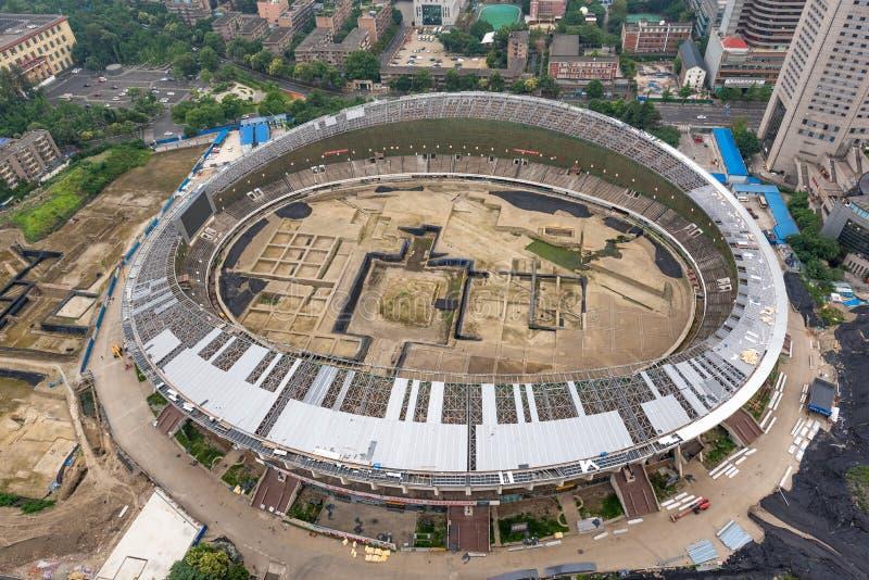 Excavaciones arqueológicas en el estadio de Chengdu fotografía de archivo libre de regalías