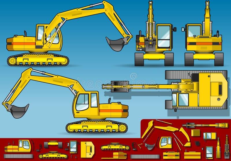 Excavador amarillo en la posición ortogonal cinco stock de ilustración