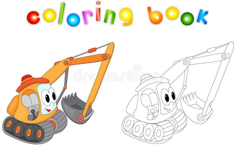 Excavador de la historieta Libro de colorear para los niños ilustración del vector