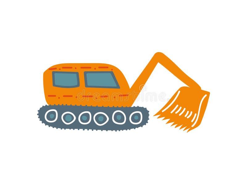 Excavador, maquinaria de construcción industrial pesada, vista lateral, ejemplo del vector de la historieta ilustración del vector