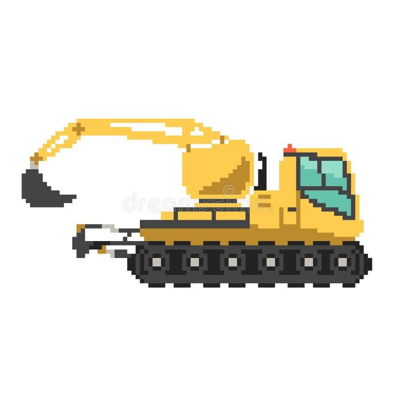 Excavador o niveladora de la construcción del vector del pixel stock de ilustración