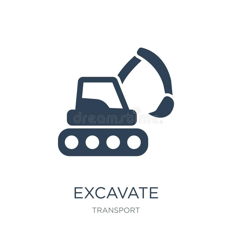 Excavate icon in trendy design style. excavate icon isolated on white background. excavate vector icon simple and modern flat. Symbol for web site, mobile, logo stock illustration