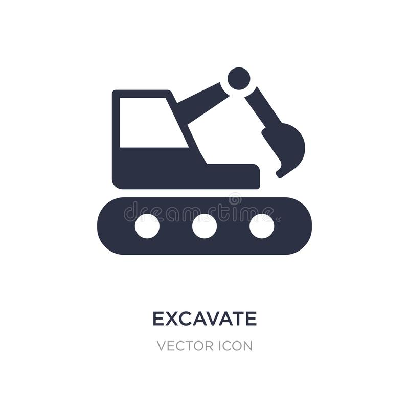 Excavate icon on white background. Simple element illustration from Transport concept. Excavate sign icon symbol design stock illustration