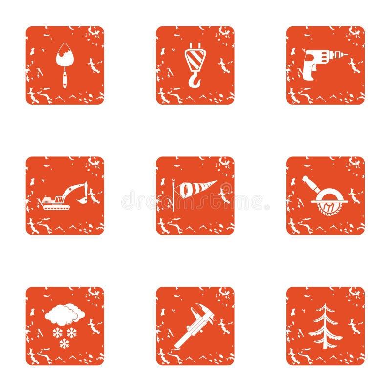 Excavate icons set, grunge style. Excavate icons set. Grunge set of 9 excavate vector icons for web isolated on white background stock illustration