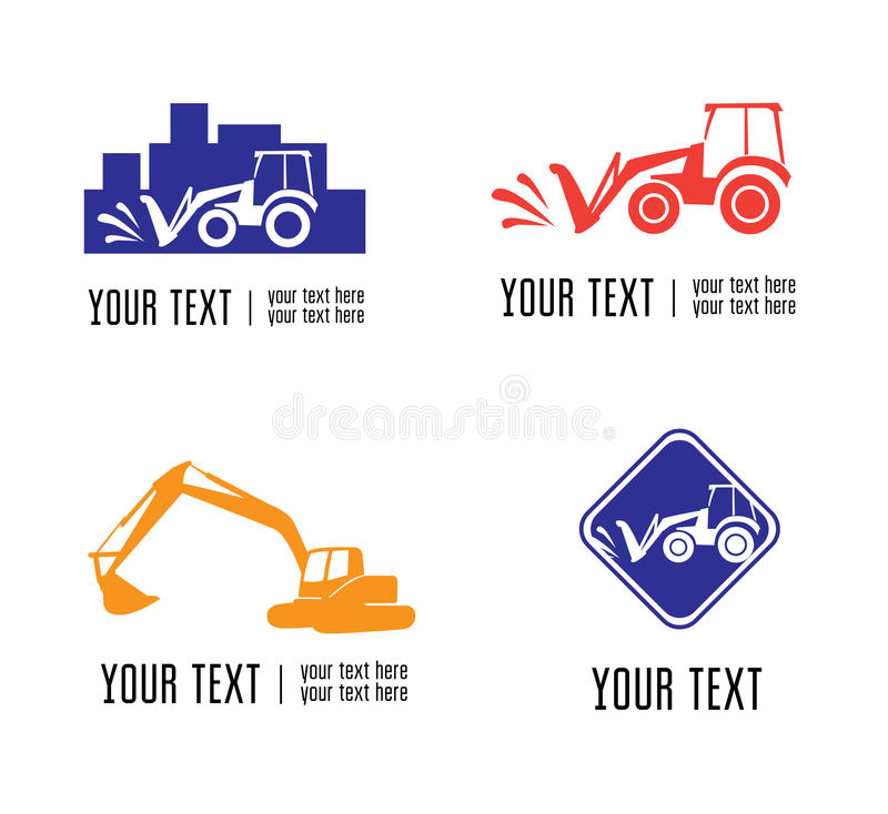 Excavate logos. Set of vector excavate and building logos stock illustration