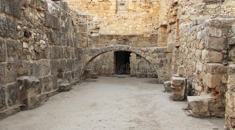 Excavated Ruins of the Pool of Bethesda and Church. Excavated archeological ruins of the Pool of Bethesda and Byzantine Church. Located in the Muslim Quarter in royalty free stock images