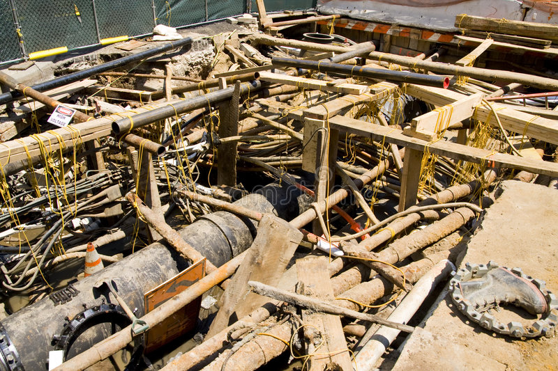 Download Excavation For Electrical Conduits And Water Main Stock Photos - Image: 5995073