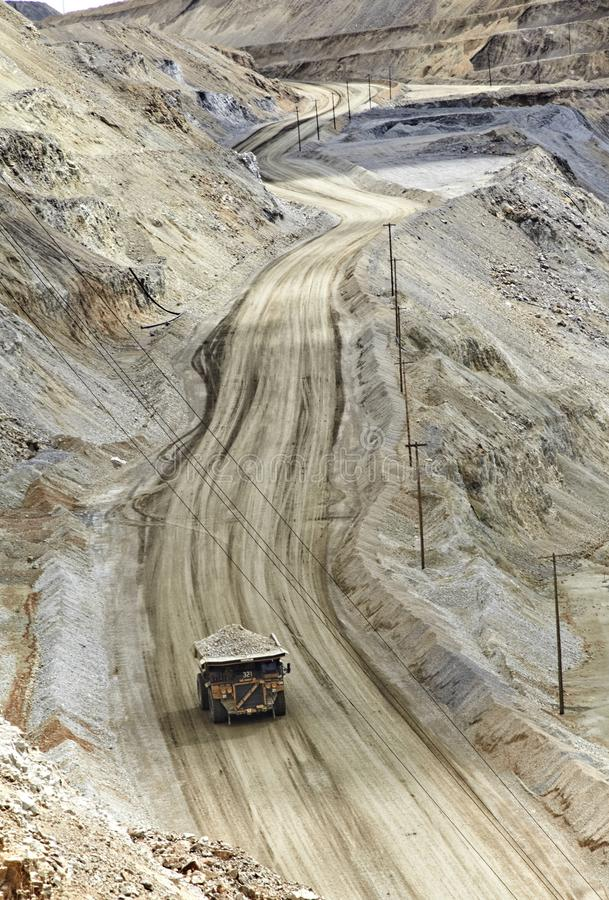 Excavation open pit mine Kennecott, copper, gold and silver mine royalty free stock photos