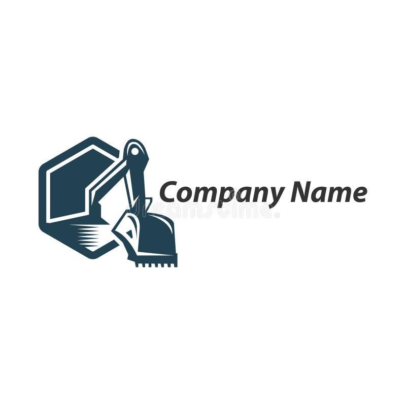 Free Excavation Work Logo Design, Emblem Of Excavator Or Building Machine Stock Photography - 123876732