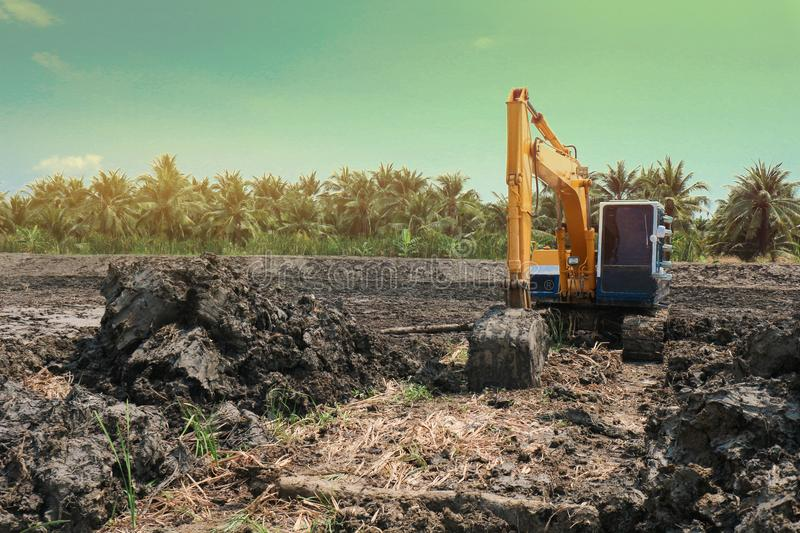 Excavation is working on the construction site at the sunset time in the summer stock photo