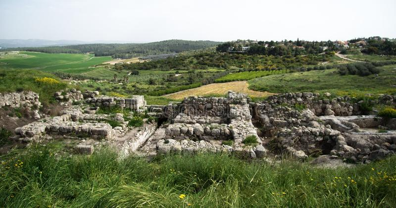 Excavations d'âge de fer de téléphone Gezer image stock