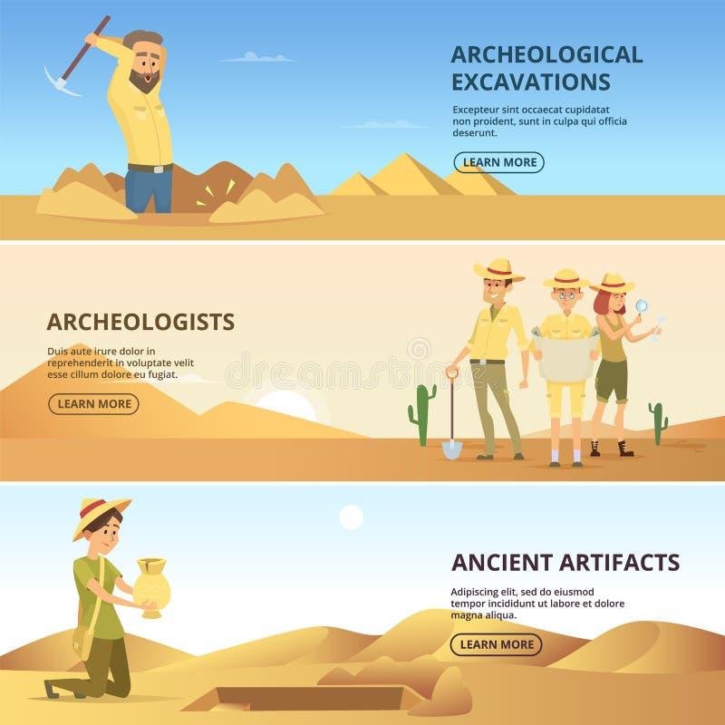 Excavations de conduite d'archéologues des valeurs historiques Bannières horizontales illustration stock
