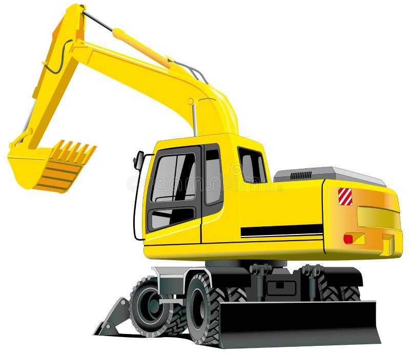 Excavator. Detailed ial image of excavator isolated on white background stock illustration