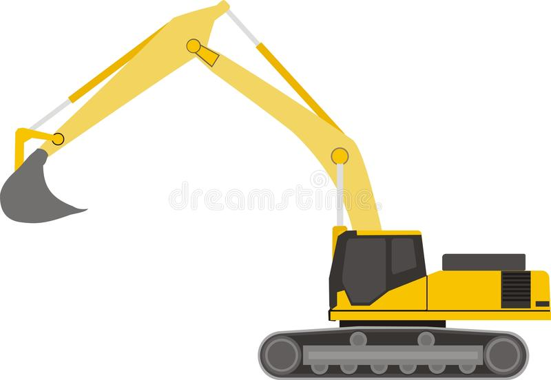 Excavator. With raised scoop from the side vector illustration
