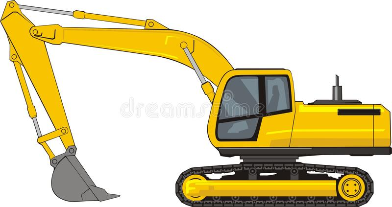 Excavator. Building excavator on a caterpillar base stock illustration