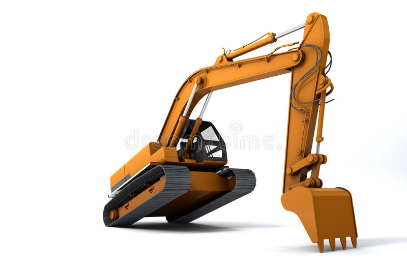 Excavator. Is in the interesting position. Scoop rests on the ground. Isolated on white stock illustration