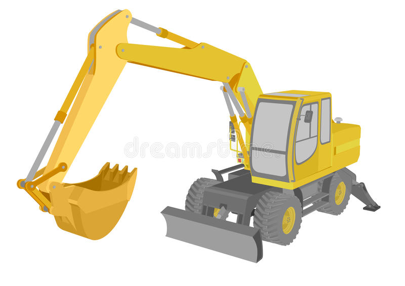 Excavator. Detailed illustration of an excavator stock illustration