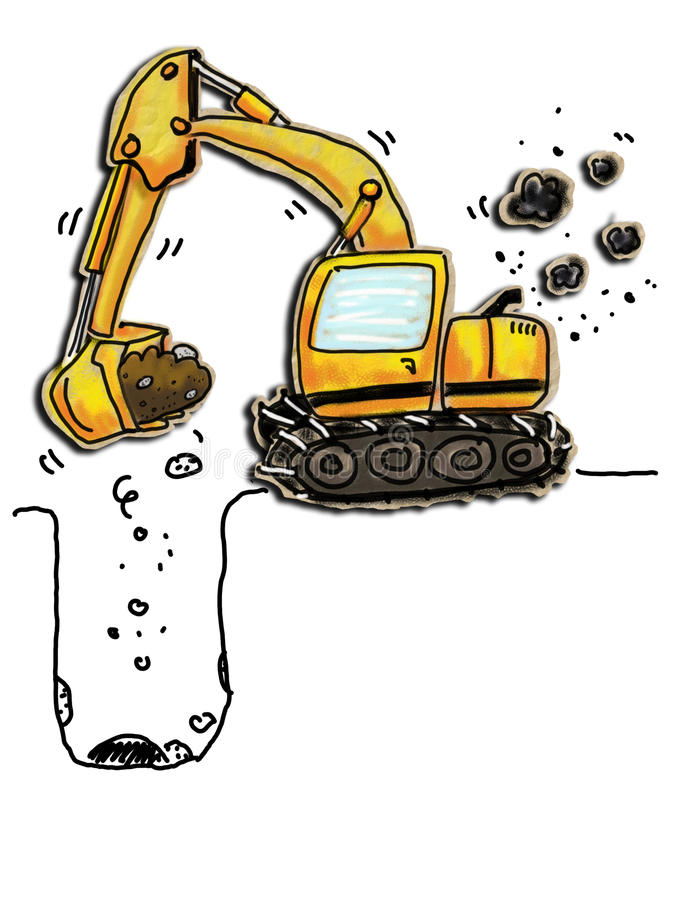 Excavator. Cartoon of a working excavator. Colored pencil drawn on paper bag royalty free illustration