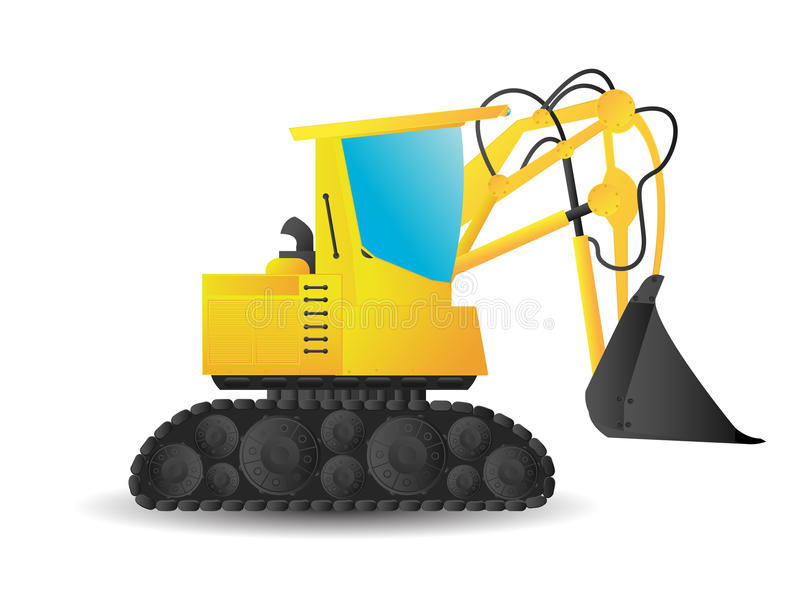 Excavator. Stylized cartoon excavator on white background royalty free illustration