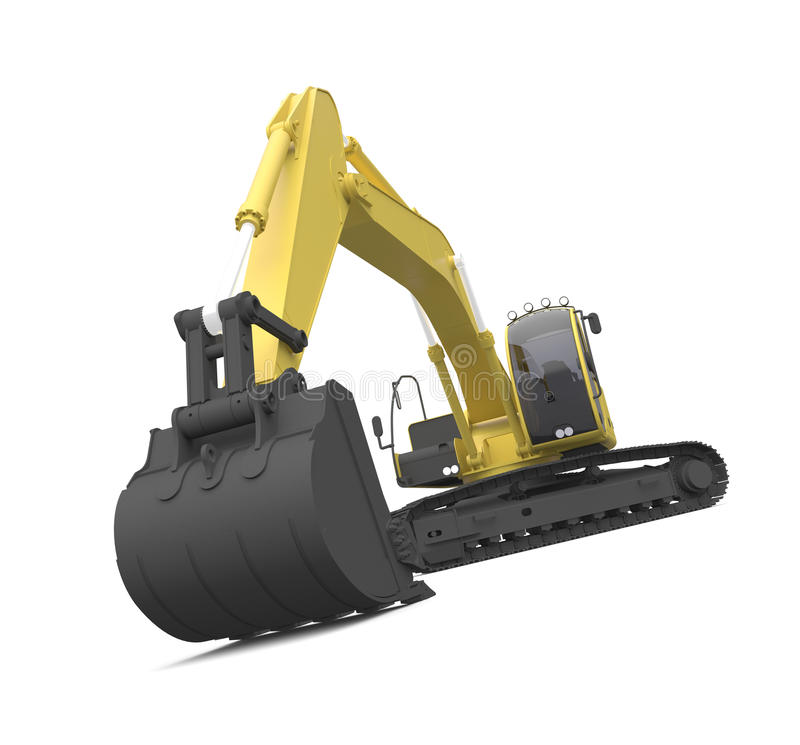 Excavator. Illustration of an excavator. Hi-res 3D Digitally generated image stock illustration