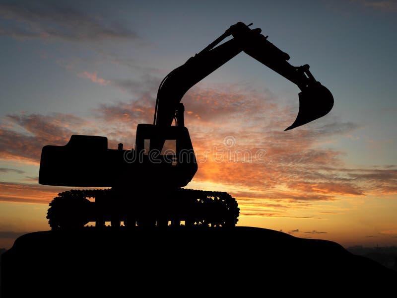 Excavator. Heavy excavator over orange background stock illustration