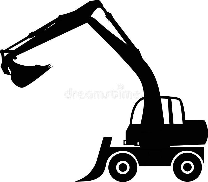 Excavator. Silhouette big excavator, vector illustration royalty free illustration