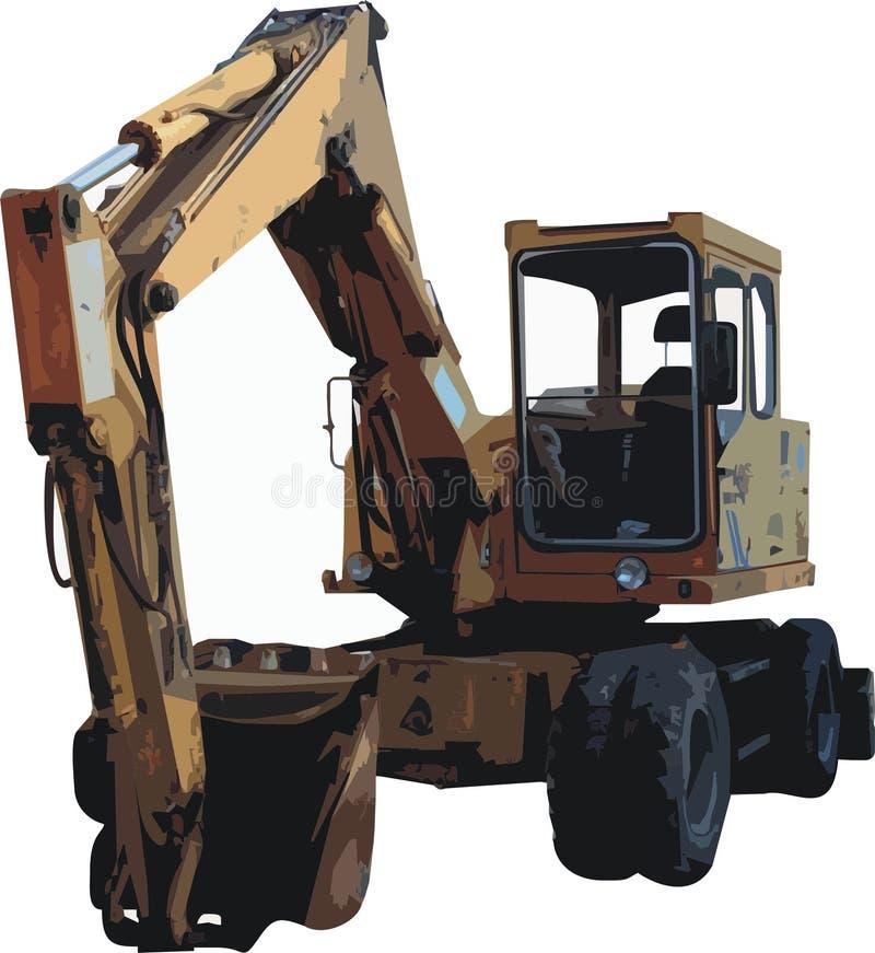Excavator. Vector Illustration of a yellow excavator stock illustration