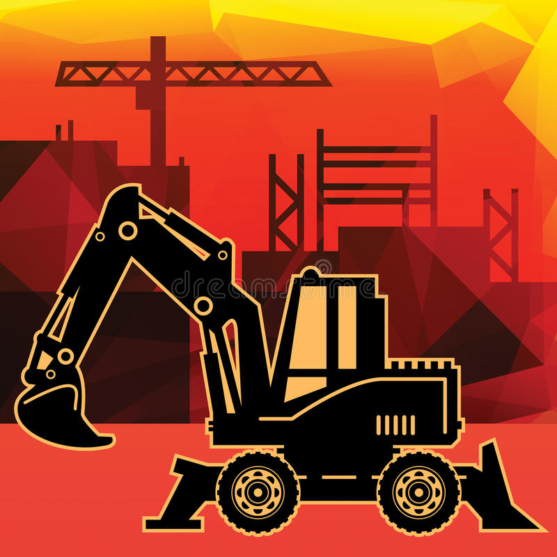 Excavator. On abstract industrial background royalty free illustration