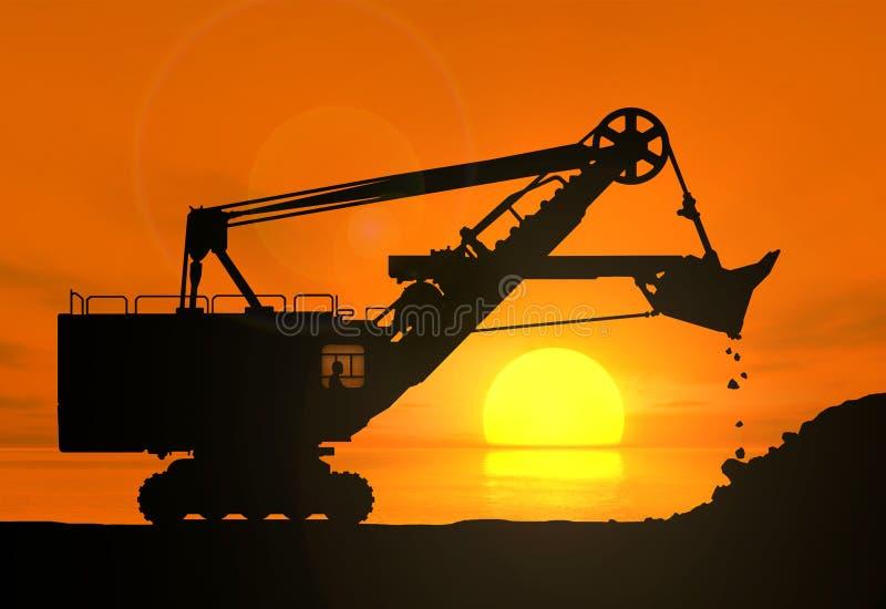 Excavator against the setting sun. Silhouette of the excavator working against the setting sun stock illustration