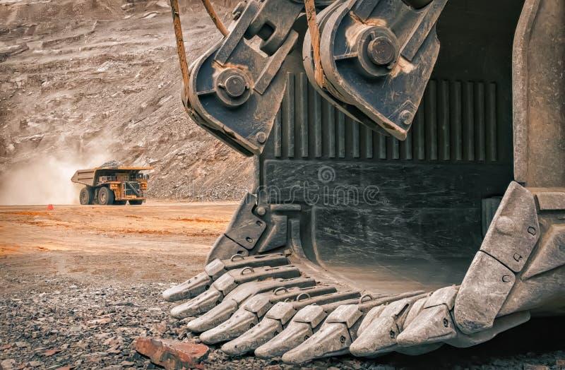 Excavator arm on mine royalty free stock images