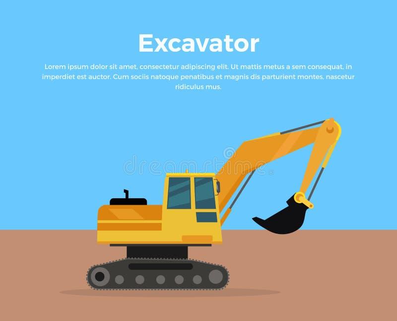 Excavator Banner Flat Design Vector Illustration. Excavator vector banner. City building flat design concept. Construction machine in career. Extraction stock illustration