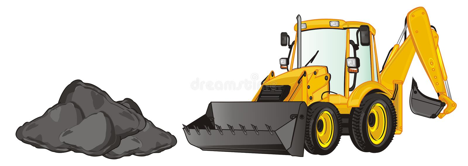 Excavator and black heap. Yellow excavator and large black heap of ground vector illustration