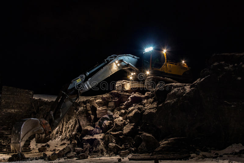 An excavator at the Blue Lagoon stock image