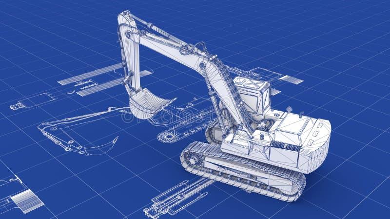 Excavator Blueprint Royalty Free Stock Photo